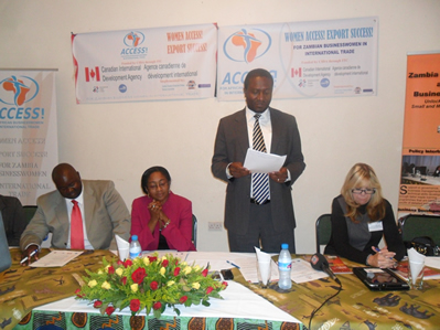 ACCESS Launch Guest of Honor, ZDA Director General Mr. Andrew Chipwende flanked by ZCSMBA Executive Secretary Ms. Patience Sakuringwa, immediate Left, Mr. Solomon Milimbo, far left, Trade Attache at the Canadian High Commission and Ms. Linda Holtes ,right, an ITC representative giving his remarks